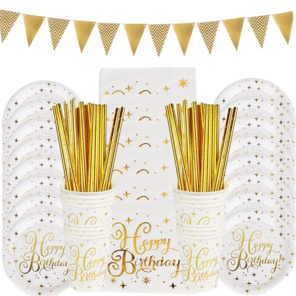 Stolovací papírové doplňky na oslavu ve zlaté barvě