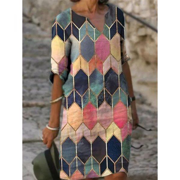 Dámské podzimní geometrické šaty PLUS SIZE