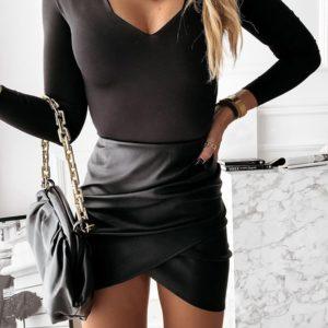 Dámská kožená sukně s vysokým pasem
