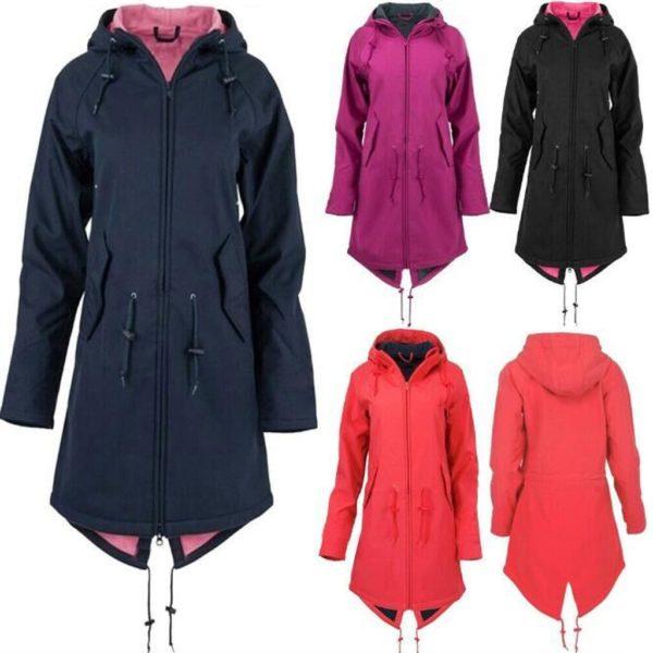 Dámská dlouhá nepromokavá bunda na zip s kapucí