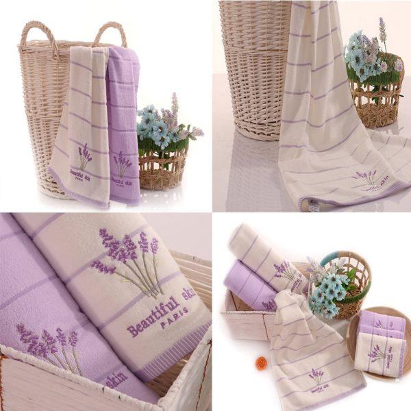 Měkké vyšívané bavlněné ručníky s levandulí