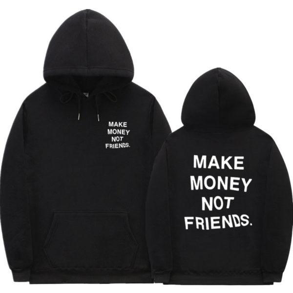 Unisex pohodlná mikina s potiskem Make money not friends