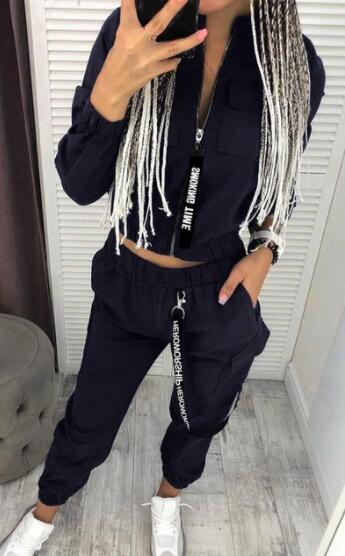 Dámský set krásné bundy na zip a kalhot