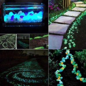 Dekorační ozdobné svítící oblázky na zahradu