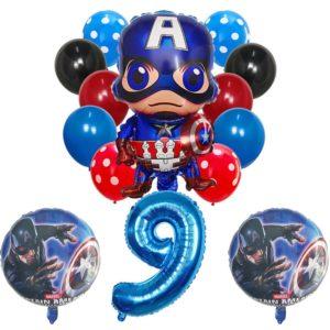 Set nafukovacích balónků s číslem a superhrdinou Captain America 14 ks