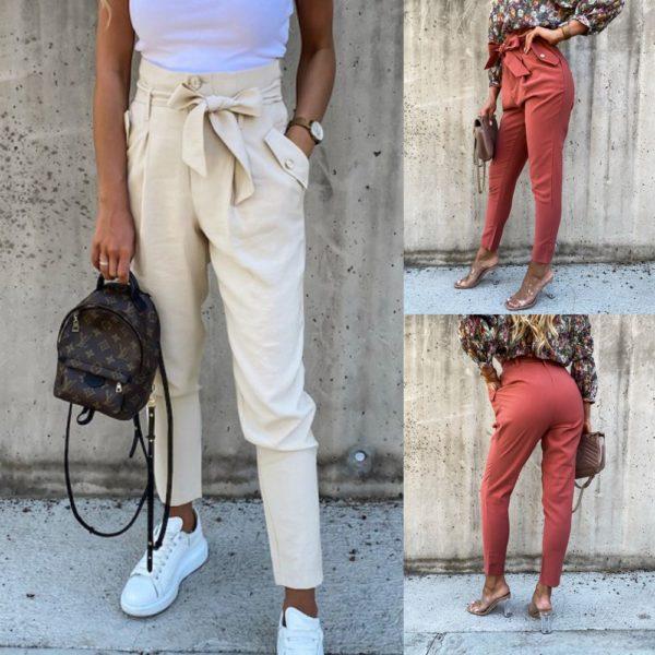 Dámské kalhoty s mašlí a vysokým pasem Nicola
