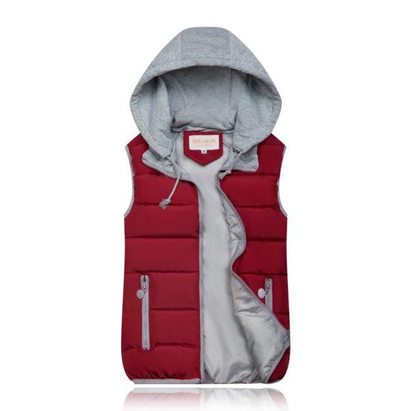 Dámská luxusní prošívaná vesta s kapucí