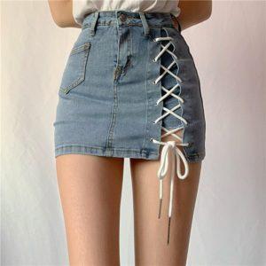 Letní džínová kratší sukně s vysokým pasem a šněrováním