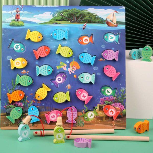 Dětská vzdělávací dřevěná hra Magnetické rybaření