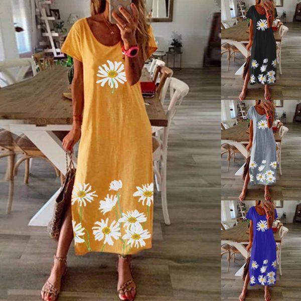 Dámské volné Maxi šaty s květinovým dekorem