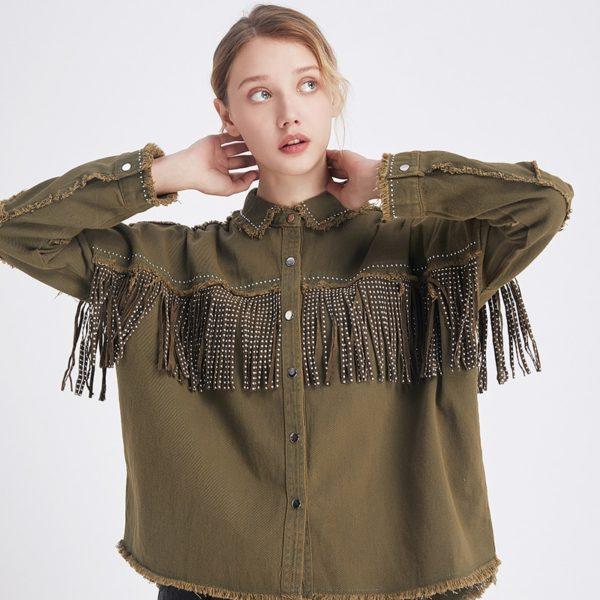 Vintage módní dámská jarní košile s třásněmi a dlouhým rukávem