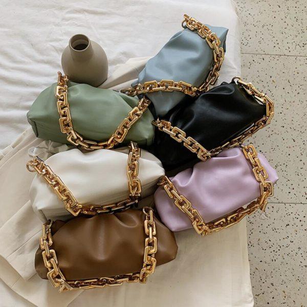 Módní kvalitní měkká kožená taška se zlatým řetězem přes rameno