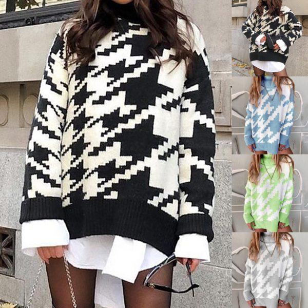 Dámský dlouhý podzimní oversize svetr