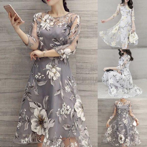 Elegantní dámské šaty s květinovým motivem
