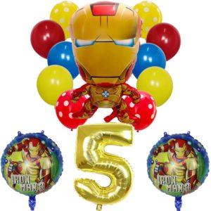 Set nafukovacích balónků s číslem a superhrdinou Iron Man 14 ks