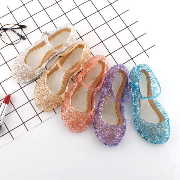 Dívčí letní boty křišťálovým motivem