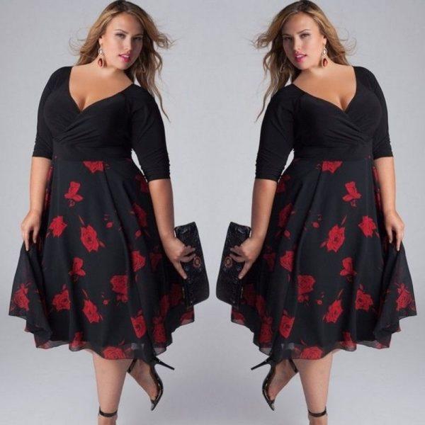 Dámské plus size šaty s červenými květy Clorinda