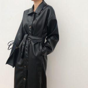 Kožený dlouhý kabát s páskem