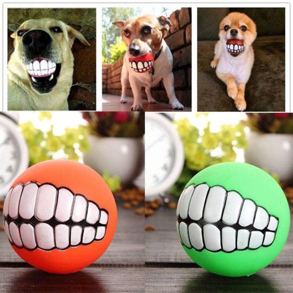 Vtipný míček pro psy s vyceněnými zuby