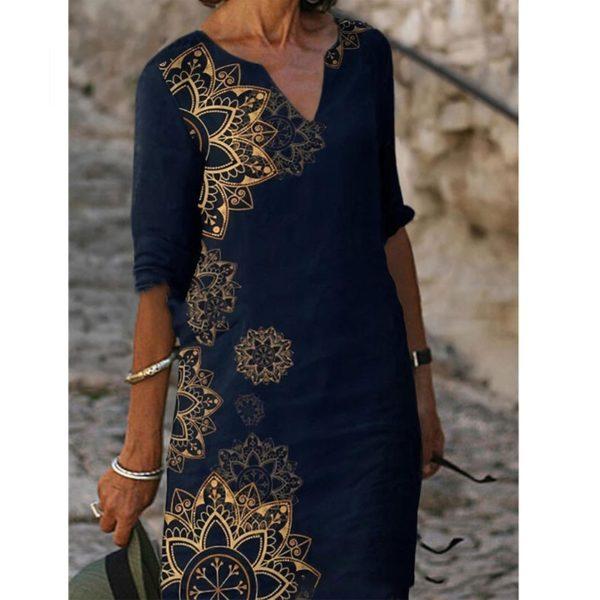 Dámské šaty po kolena se vzorem mandaly