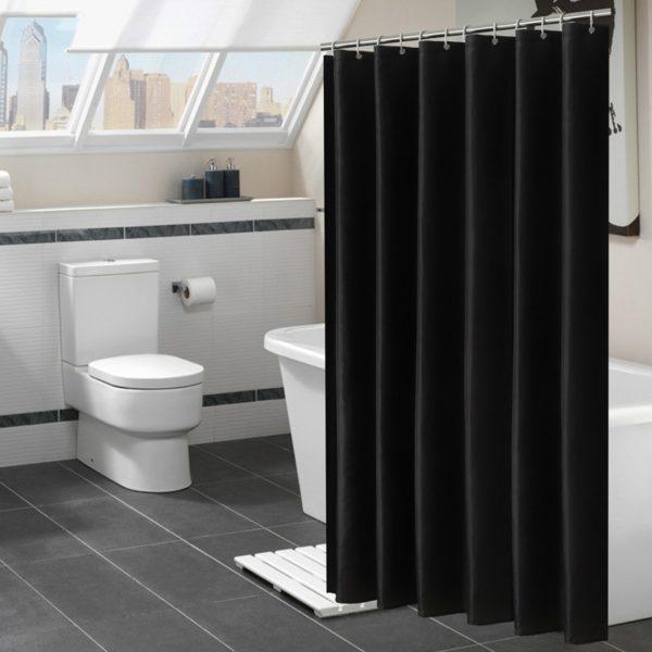 Moderní stylový černý závěs do sprchového kouta