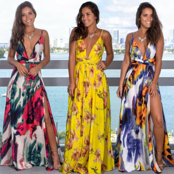 Dámské dlouhé vzorované šaty s rozparkem