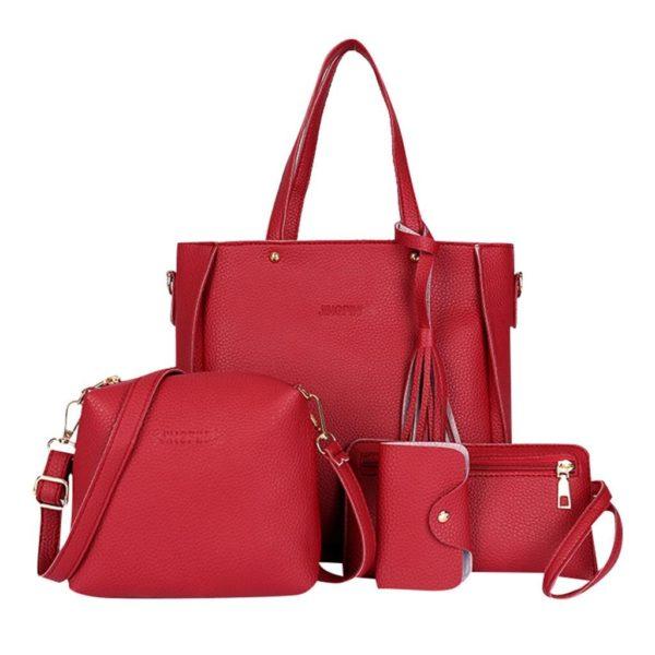 Čtyřdílná luxusní jednobarevná kabelka