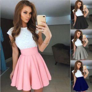 Dámské letní krajkované šaty s volnou sukní