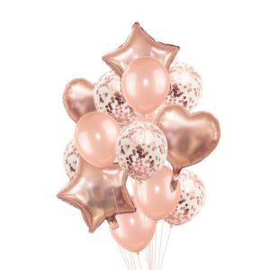 Rose Gold sada nafukovacích balónků