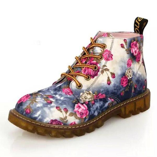 Dámské šněrovací boty s květinovým vzorem