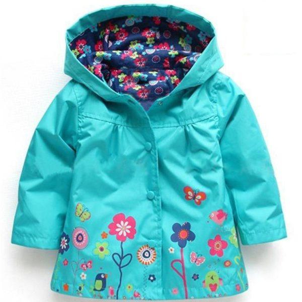 Dětská veselá jarní/podzimní bunda s kapucí a potiskem kytiček