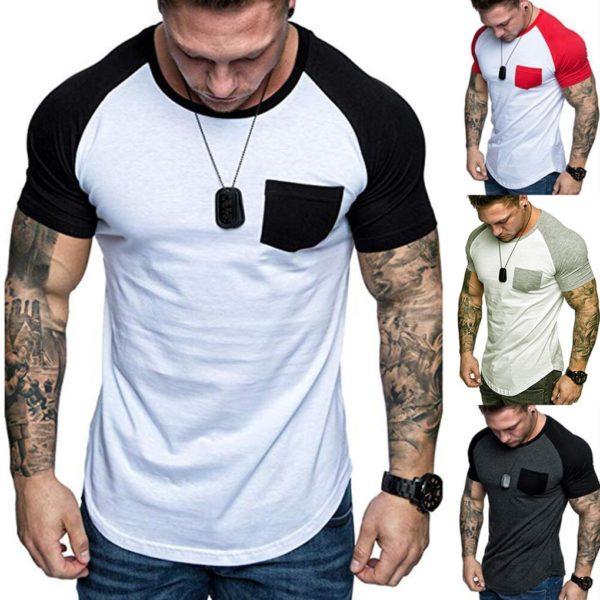 Pánské neformální triko s krátkým rukávem a náprsní kapsičkou
