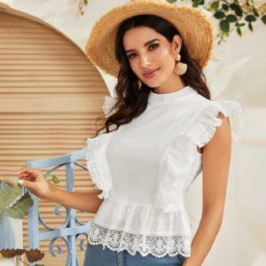 Dámská módní bílá krajková halenka s volánky