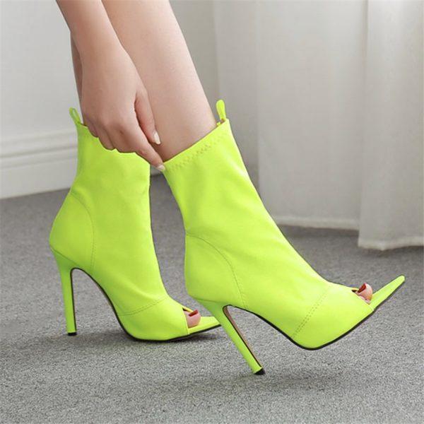 Vysoké neonové dámské sandálky se špičatou odhalenou špičkou
