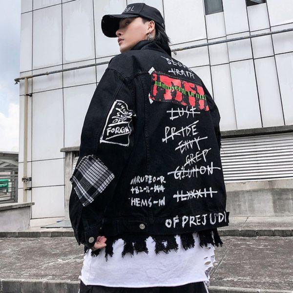Černá bunda Graffiti Denim