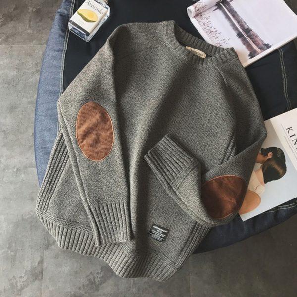 Pánský módní pletený svetr s kulatým výstřihem