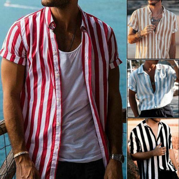 Pánská neformální letní proužkovaná košile