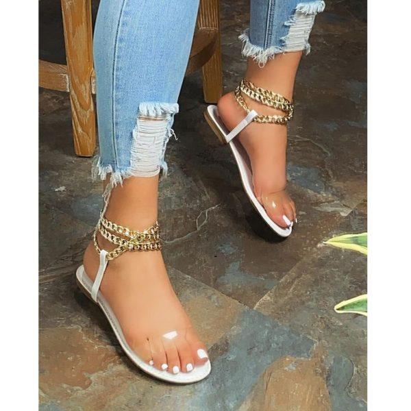 Dámské letní sandálky s řetízkem