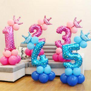 Balónky s korunkou - Narozeninové čísla