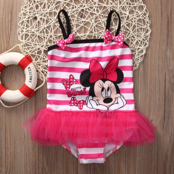 Dívčí roztomilé jednodílné pruhované plavky s tutu sukní a potiskem Minnie
