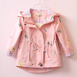 Jarní větrová květovaná dívčí bunda s kapucí