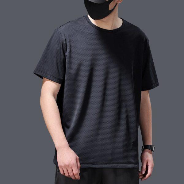Pánské moderní prodyšné triko PLUS SIZE s krátkým rukávem