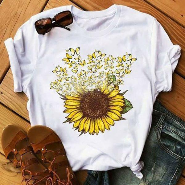 Dámské estetické letní tričko s potiskem slunečnice - více variant