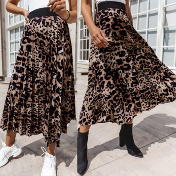 Dámská plisovaná sukně s leopardím potiskem