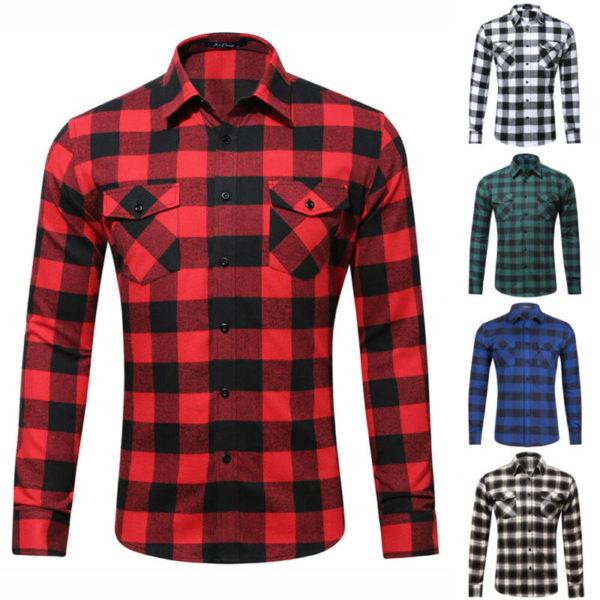 Módní pánská bavlněná kostkovaná košile