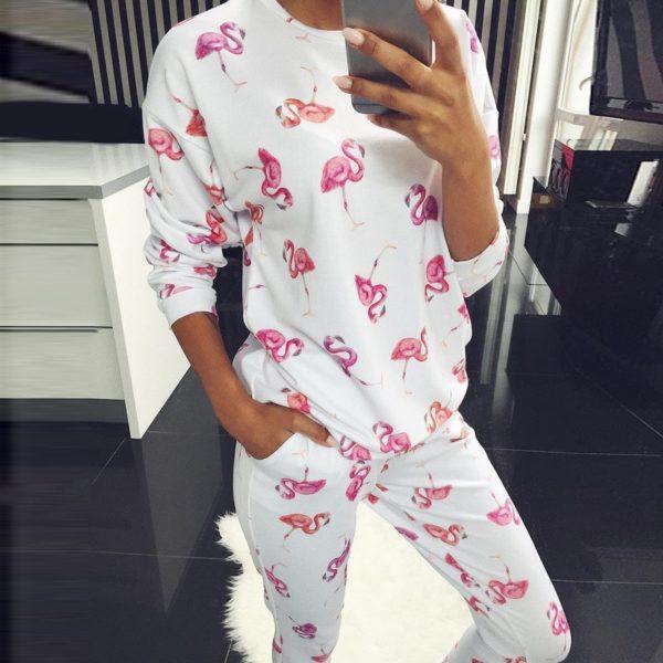 Dámský luxusní pyžamový komplet s motivem plameňáků