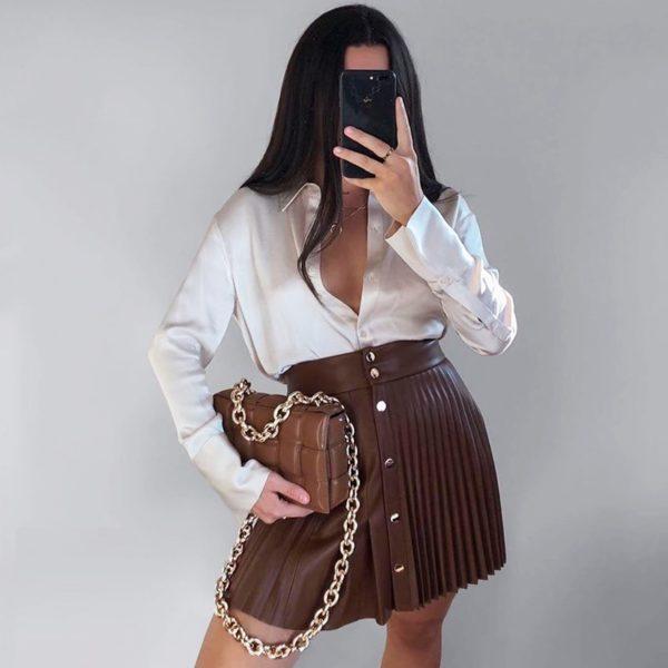 Dámská kožená skládaná sukně Ilaria