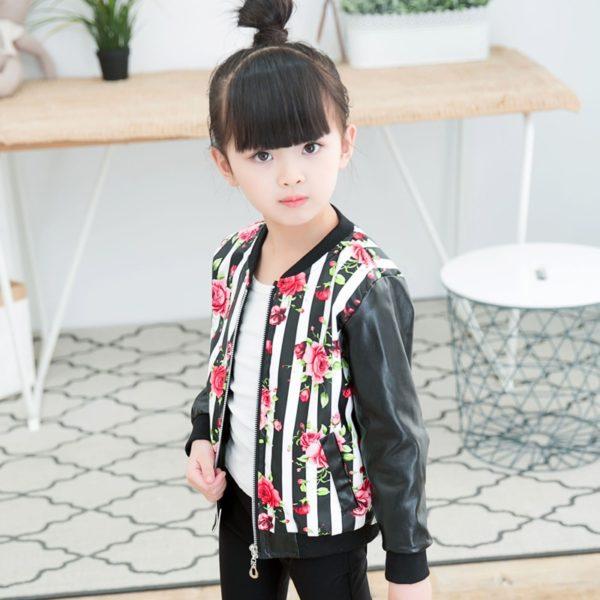 Dívčí módní jarní koženková bunda s květinovým vzorem