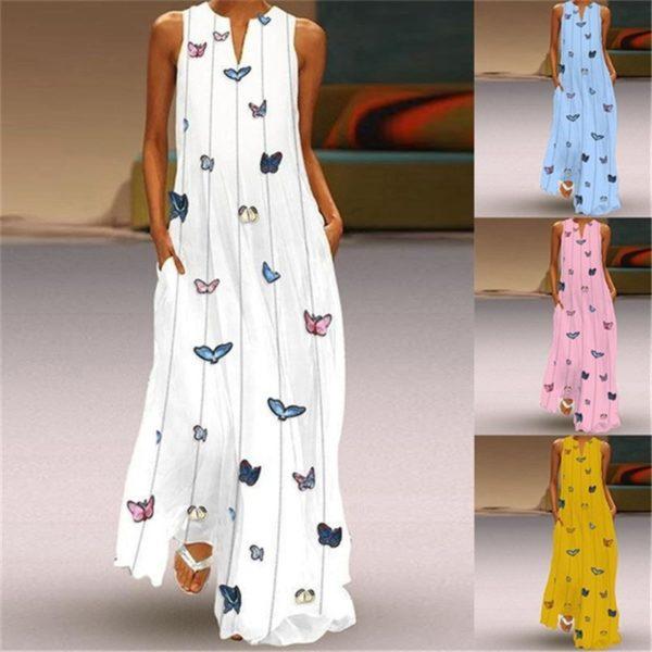 Dámské dlouhé Maxi šaty s kapsami a potiskem motýlků