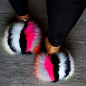 Luxusní načechrané kožešinové pantofle pro ženy